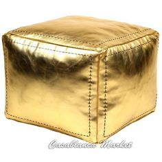 Moroccan Leather Poof, Pouf Gold Square