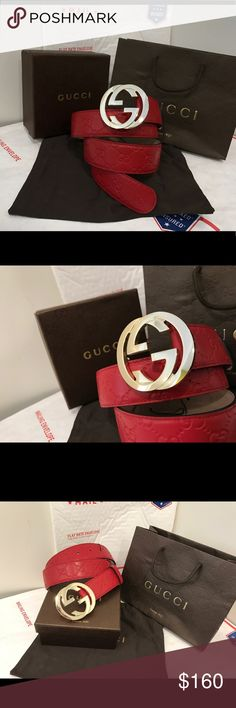 💰 Authentic Men Gucci Belt Red Leather Guccisima This is a 100% authentic men Gucci belt. This was handcrafted by Gucci in Italy. Sizing has already been taken care of as you just need to choose the size you wear in jeans. All shipments are sent within one business day! If you purchase before 2 PM EST it will be shipped the same day. Bundle items to save more! 💵 Gucci Accessories Belts
