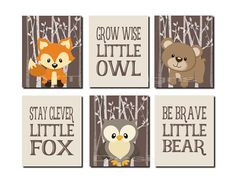 Printable Woodland Nursery Art, Boy Nursery Art, Stay Clever Fox, Grow Wise Owl, Be Brave Bear, Brown, Forest Animals, Set of 6