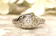 Antique Engagement Ring 0.42ct Old Mine by LadyRoseVintageJewel