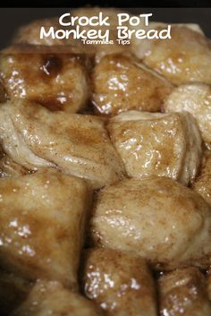 Crock Pot Monkey Bread. All you need is 1 tube biscuits, 1 tsp cinnamon, 1/4 cup melted butter, and 1 cup brown sugar!