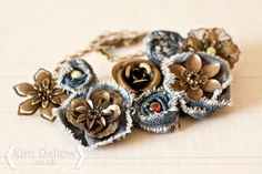 Kim Dellow: Metal Filigree flowers, from The Bead & Company, and denim flower necklace.