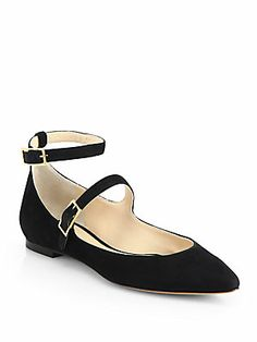Chloé Suede Mary Jane Double-Strap Ballet Flats