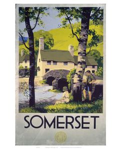 Somerset Boy and Girl by Bridge on VintageRailPosters.co.uk Prints