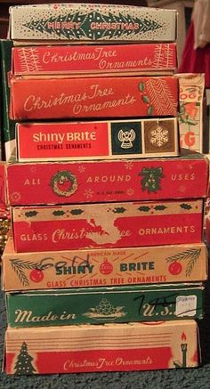 Vintage Ornament Boxes they always smelled musty.Now I miss that smell as it reminds me of Christmas past. Christmas Store, Noel Christmas, Retro Christmas, Vintage Holiday, All Things Christmas, Winter Christmas, Little Christmas, Christmas Boxes, Magical Christmas