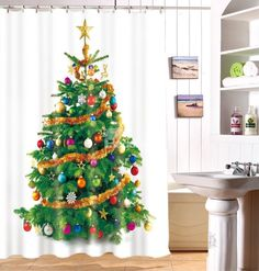Jubilantly Shining Christmas Tree Print Polyester Shower Curtain on sale, Buy Retail Price 3D Shower Curtains at Beddinginn.com