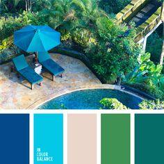 azul oscuro y verde fuertes, color verde hierba, colores aguamarina y verde lechuga, colores celeste y azul oscuro, combinaciones de colores, elección del color, matices del azul oscuro, selección de colores para el diseño, verde y azul oscuro.