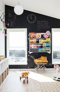 How much fun would your kids' have with this full black chalkboard wall in a playroom? Looks super sleek and modern contrasting against the white too!