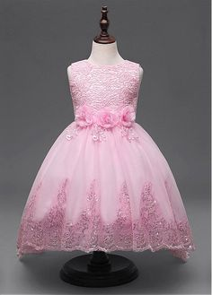 Buy discount In Stock Dazzling Lace & Tulle Jewel Neckline Ball Gown Flower Girl Dresses With Handmade Flowers at Dressilyme.com