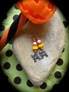CANDY CORN PUG Halloween Earrings Glass Candy by WhimsicalMystical