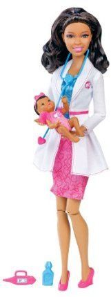 Barbie I Can Be Baby Doctor African-American Doll by Mattel. $18.61. Code inside each package unlocks career-themed content online. Includes Nikki doll, baby, stethoscope, thermometer and medicine bottle. Girls can play out the role of baby doctor. Collect all your favorite Barbie I Can Be dolls. Nikki is dressed in a doctor's coat and heart detail pencil skirt. From the Manufacturer                Barbie I Can Be Baby Doctor African-American Doll: Girls will l...: