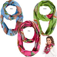 Bright Hand Stitched Kantha Infinity Scarf at The Veterans Site