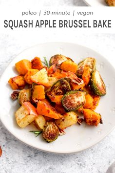 Roasted Squash Apple Brussel Sprout Bake is full of caramelized veggies, Fall inspired seasonings, and ready in 20 minutes with just one pan. Vegan Side Dishes, Side Dishes Easy, Vegan Recipes Easy, Side Dish Recipes, Thanksgiving Recipes, Fall Recipes, Holiday Recipes, Butternut Squash Casserole, Brussel Sprouts And Butternut Squash Recipe