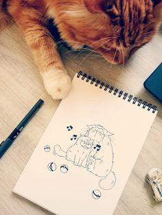 Petit croquis avec Pixel Le Chat inspiré par Pokemon Go ! / Sketch of cats inspired from pokemon go, the Game  #sketch #cats #pokemongo #ronflex #rondoudou #snorlax