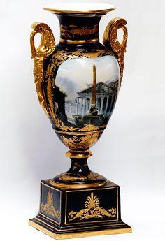 Vase EN Porcelaine 68cm Bleu ET Dore Style Empire Napoleon Parisien Pantheon…