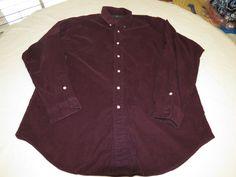 Ralph Lauren Mens L Blake cotton burgandy long sleeve button up Shirt EUC @ #RalphLauren #ButtonFront