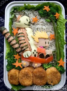 Calvin and Hobbes bento! There's also wall-e, star wars, lost, hello kitty, and so on and so on