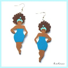 Black Woman in Blue Dress Earrings