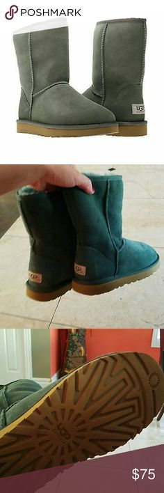 Forest green uggs sz  us 7 These are in great condition only worn once size 7 authentic forest green genuine sheepskin Uggs uggs Shoes Winter & Rain Boots