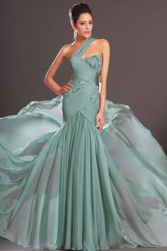 Charming Prom Dresses Ruffled Bodice Beaded One Shoulder Column/Sheath USD 139.99 TSPPBYE8PRA - StylishPromDress.com