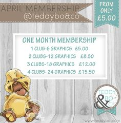 One Month Membership  digi stamps Teddy Bo & Co