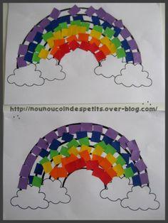 Bricolage activit manuelle pour enfant sur le th me de la m t o avec un arc en ciel suspendu - Bricolage de printemps ...