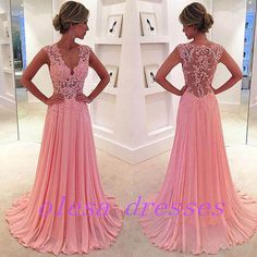 Pink A-line Chiffon Lace Long Prom Dress, Evening Dress from olesa wedding shop