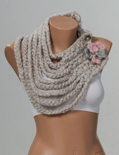 STONE Chain Scarf. Winter Crochet Scarf. Fashion neckwarmer. Holiday scarf. Pinf and grey flowers. on Etsy, $29.90