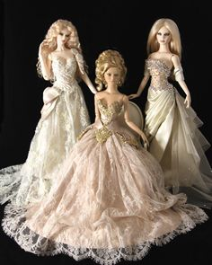 Fashion Dolls from Red Silk Thread, reminds me of Rapunzel, Cinderella and Aurora.