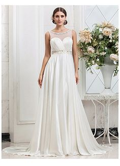 $260. eTSY. Glamorous Classic Empire Waist Open Back Soft Wedding Gown with Illusion Neckline