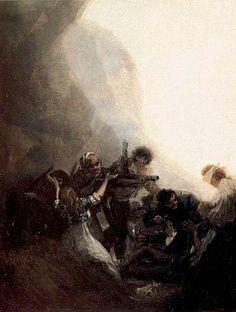 """Francisco de Goya: """"Bandidos fusilando a sus prisioneros"""". Oil on canvas, 40 x 32 cm, c. 1808-10. Marqués de la Romana Collection, Madrid, Spain"""