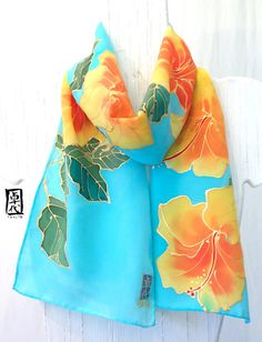 Hand Painted Silk Scarf Blue Hawaii. Blue Silk Scarf with yellow hibiscus. Blue Floral Scarf. Silk Scarves Takuyo. Approx 8x54 in.