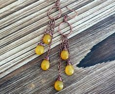 Yellow Chalcedony Briolette And Copper Earrings, dangle earrings, boho earrings. bohemian earrings, wire wrapped earrings