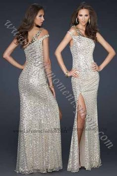 One shoulder style perfect for pageant or prom.  Created by La Femme 17154 $450 #prom #pageants #dresses #fashion