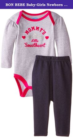 BON BEBE Baby-Girls Newborn Mommy's Little Sweetheart Bodysuit with Knit Denim Jegging Set, Multi, 0-3 Months. Long sleeve bodysuit with screen printed applique, lap shoulder neck opening, and 3-snap closure at inseam. Set also includes elastic waist knit denim jegging pant.