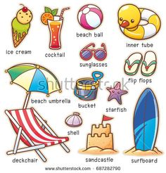 Find Vector Illustration Cartoon Summer Vacation Vocabulary stock images in HD and millions of other royalty-free stock photos, illustrations and vectors in the Shutterstock collection. Thousands of new, high-quality pictures added every day. Learning English For Kids, English Lessons For Kids, English Language Learning, Teaching English, Kids Learning, English Grammar Worksheets, English Vocabulary Words, Learn English Words, English Study