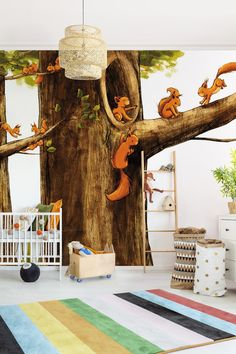 Children's wallpaper – home of the unicorns – squirrels forest wallpaper non-woven photo wallpaper – Kids Room 2020 Forest Wallpaper, Kids Wallpaper, Photo Wallpaper, Bunk Bed Playhouse, Loft Bunk Beds, Baby Tapeten, Baby Zimmer, Small Loft, Play Houses