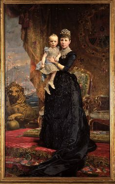 Portrait of Queen Regent, Maria Cristina of Spain and the heir, Alfonso XIII. By Antoni Caba. 1890