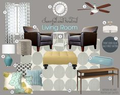Cheerful Neutral Living Room Mood Board | Teal and Lime Interiors