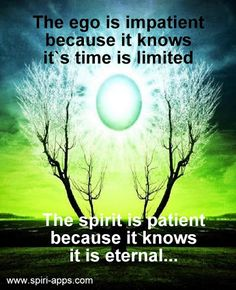 The ego is impatient because it knows it's time is limited ༺❁༻ the Spirit is patient because it knows it is eternal Spiritual Path, Spiritual Growth, Spiritual Awakening, Spiritual Quotes, Spiritual Psychology, Spirit Soul, A Course In Miracles, Yoga, Positive Affirmations