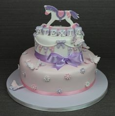 Rocking Horse and Bunting Christening Cake No.CH1001<br/>€220  6'/10'<br/>€250  8'/10'<br/>