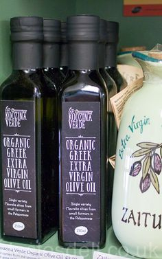 La Kouzina Verde. This oil comes from the unique Greek Mavrelia olives, from a small area on the west coast of the Peloponnese. The olives are hand picked and cold pressed to make this fantastic organic olive oil. #greek #olive #oil #organic