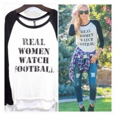 • Football Tee • Please DO NOT purchase this listing. Comment below what size you need and I'll make a separate listing for you. Long sleeve white and black graphic baseball tee 95% rayon, 5% spandex. Fits comfortably and loose.   •price firm unless bundled •no trades •10% off all bundles Jennifer's Chic Boutique  Tops Tees - Long Sleeve