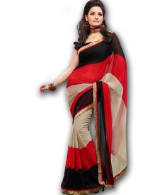 30% Off on FabDeal Red & Black Georgette Printed Saree @799