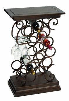 Buy Wine Bar Table Rack With Glass & Wine Bottle Holder At Wildorchidquilts.Net