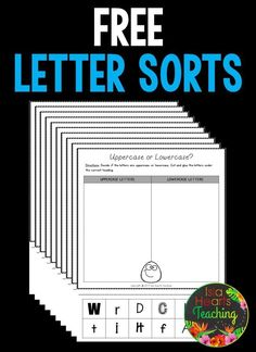 FREE alphabet letter sorting worksheets to assist young students with letter recognition and letter identification Uppercase And Lowercase Letters, Alphabet Letters, Preschool Alphabet, Alphabet Crafts, Letter Sorting, Letter Tracing, Letter Activities, Letter Identification Activities, Letter Games