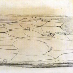 Ben Nicholson - pencil and oil wash on paper - 1949 … Landscape Drawings, Abstract Landscape, Landscape Paintings, Claude Monet, Illustrations, Illustration Art, Pablo Picasso, Drawing Sketches, Art Drawings