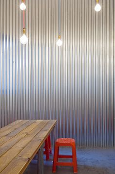 corrugated metal, table, orange! And lights