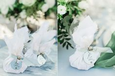 Luxury wedding favors with white silk textile and your loved guests' names engraved in silver-plated metal