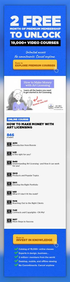 How to Make Money with Art Licensing Business, Illustration, Art Business, Freelance, Business Skills, Surface Design, Make Money, Art Licensing #onlinecourses #onlinedegreetips #onlinetraininglink   Have you been looking for another way to monetize your art and design? This introduction to Art Licensing with illustrator, writer and art business coach Ronnie Walter could be the answer you're loo...